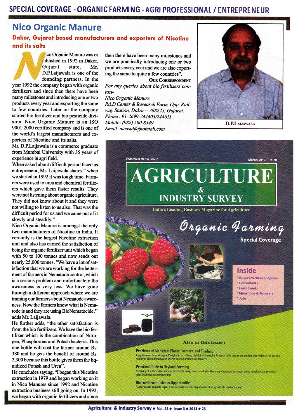 Nico Orgo's Dushyant Laijawala featured in India's largest Agri-business magazine